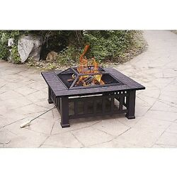 Patio Fire Pit Outdoor Fireplaces Ring Kit Wood Burning Square Alhambra Portable
