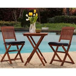 Patio Bistro Set Folding Table and Chairs 3 Piece Outdoor Garden Furniture Wood