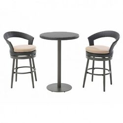 Outdoor Patio Furniture Bistro Set Bar Height Deck 3 Piece Table Swivel Chairs