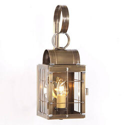 Primitive Colonial Country Single Outdoor Wall Lantern in Weathered Brass