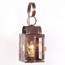 Primitive Colonial Country Single Outdoor Wall Lantern in Antique Copper