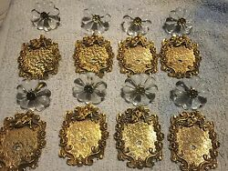 8 vintage 18 kt gold florenta backplates and knob. 4 from 1968 and 4 from 1970.