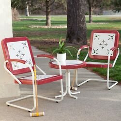 Red Metal 3 Piece Retro Patio Bistro Chair Seating Set Outdoor Home Furniture
