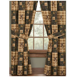 Pair of Browning Country Buckmark Curtains  Drapes 84x84