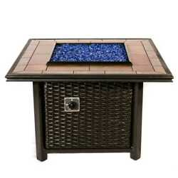 39 inch Square Wicker Fire Pit