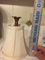 Chandelier shades. Set of 16 cream; 6 x 6.5quot; with 2quot; bronze topper; lined $125.00
