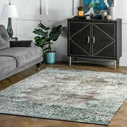 nuLOOM Traditional Vintage Distressed Corene Area Rug in Gray and Aqua Blue $57.99