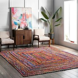 nuLOOM Hand Made Bohemian Braided Cotton Area Rug in Multi Color Chindi $30.99