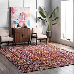 nuLOOM Hand Made Bohemian Braided Cotton Area Rug in Multi Color Chindi $26.99