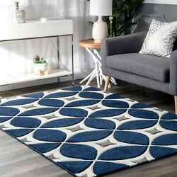 nuLOOM Hand Made Contemporary Geometric Trellis Area Rug in Navy Blue and Gray $62.99
