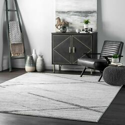 nuLOOM Contemporary Modern Geometric Solid and Striped Area Rug in Gray Multi $93.99
