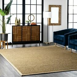 nuLOOM Contemporary Elijah Natural Seagrass with Border Beige Area Rug $47.99