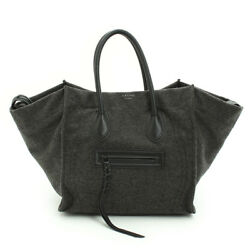 AUTHENTIC CELINE LUGGAGE PHANTOM TOTE BAG WOOL GREY GRADE AB USED-AT