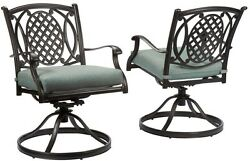 Belcourt Swivel Rocking Metal Outdoor Dining Chair with Spa Cushion 2 Pack