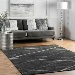 nuLOOM Contemporary Modern Solid and Stripes Area Rug in Dark Grey $37.99