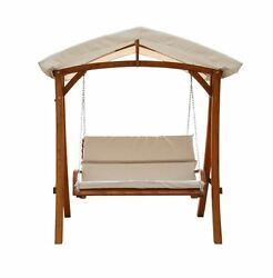 Canopy Swing Chair Bench Patio 3 Person Seater Wood Outdoor Pool Deck Furniture