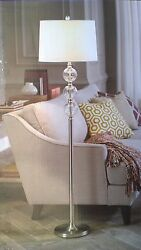 NIB Nice 60quot;H Floor READING LAMP w Fabric Shade amp; Glass Globes Accent $59.96