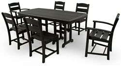 7 Piece Patio Dining Set Outdoor Terrace Yard Furniture Table Chair Seat Black