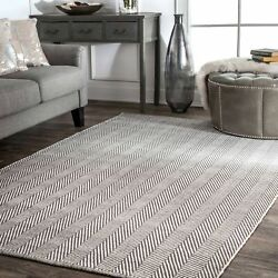 nuLOOM Hand Made Contemporary Herringbone Cotton Area Rug in Grey and Ivory $41.99
