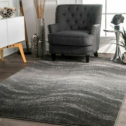 nuLOOM Contemporary Modern Waves Design Area Rug in Gray $62.99