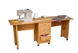 Sewing Table With Wheels Rolling Craft Storage Center Cart Organizer Furniture