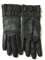 Aquatalia black leather studded gloves with cashmere lining - size 7 12