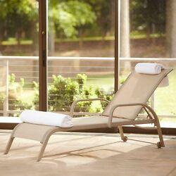 2-Pack Patio Sling Chaise Lounge Soft Tan Commercial all-Weather Rust-resistant