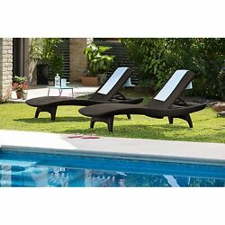 Pool Chaise Lounges Wicker Chairs Set of 2 All Weather Patio Outdoor Furniture