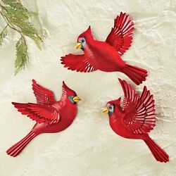 Flying Cardinal Wall Decor Metal Art Sheets Shed Side House Outdoor Birds Fence