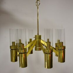 Lightolier Hurricane Brass Chandelier  Mid Century