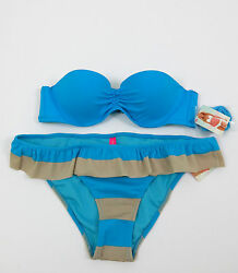 VICTORIA#x27;S SECRET 2 PC Swimsuit Push Up Top Hipkini Bottom Blue Tan 34A S $34.99