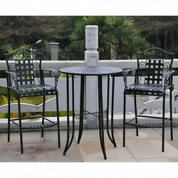 Bar Height Bistro Set Wrought Iron Out Door Patio Table Chair 3 Pc Furniture Set