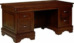Amish Traditional Executive Desk Bellamy Solid Wood Office Furniture 66