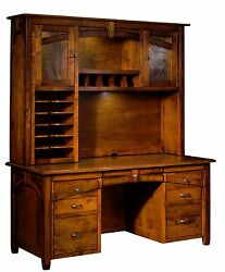 Amish Transitional Computer Desk Hutch Kensing Solid Wood Office Furniture 66