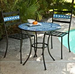 Outdoor Bistro Sets Table and Chairs Patio Furniture Dining Marina Mosaic Deck