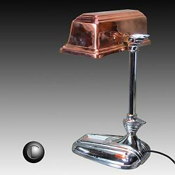 1930's Winged Streamline Chrome & Copper Machine Age Deco Bankers Lamp RESTORED