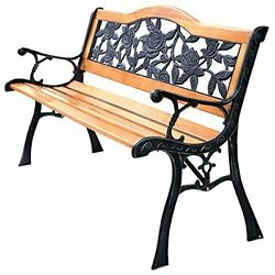 Outdoor Patio Furniture Garden Yard Bench Home Decor Chair Seat Cast Iron Wood