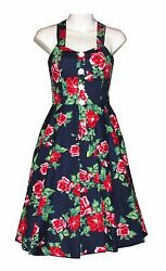 Vintage Style Floral Button Halter Womens Button Swing Dress Navy Red Rose