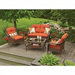 4-Piece Patio Furniture Set For Outdoor  Garden Including Cushions And Pillows