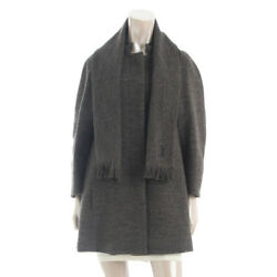 AUTHENTIC LOUIS VUITTON WOOL LONG COAT WITH SCARF GREY 38 GRADE S USED - AT