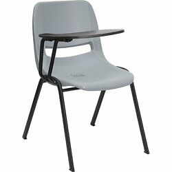 FLSH-RUTEO1GYRTABGG-Gray Ergonomic Shell Chair with Right Handed Flip-Up Arm