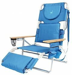 Beach Chair Adjustable 5 Position Folding Lounge Comfortable Padded Seat Pillow