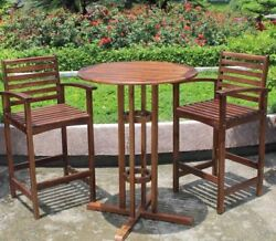 Acacia Bar-Height Bistro Set Of 3 Weather Resistant Outdoor Patio Furniture