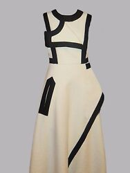 Womens Sportmax Runway dress. Wool Linen blend Ivory black trim. US size 6.