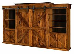 Amish Rustic Wall Unit Entertainment Center Sliding Barn Doors Solid Wood Teton