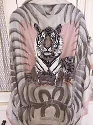 AUTH HERMES Grail TIGRE ROYAL EMBROIDERED PRECIEUX Shawl 140cm Carre Tuch Scarf