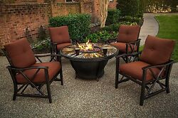 Propane Fire Pit Table Set 5 Piece Patio Furniture Outdoor Agio Oakland Living