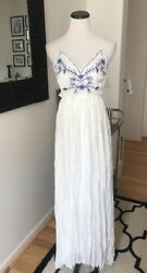 Lulus Blue Ivory White Beach Vacation Embroidered Backless Maxi Dress Honeymoon $75.00