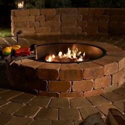 Outdoor Fire Ring Bowl Pit 48 Inch Backyard Wood Burning Concrete Cooking Grate