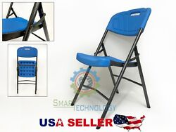 NEW Indoor Outdoor PLASTIC Folding Chair METAL Frame LONG LIFE BLUE